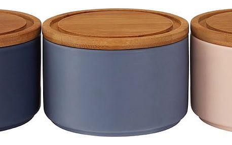 Sada 3 kamenných úložných misek s bambusovým víkem Premier Housewares, 4,5 dl