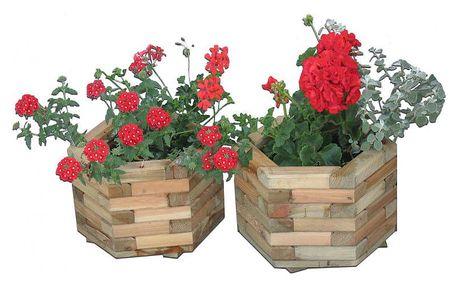 Tradgard 2696 Dřevěný dekorativní 6-ti úhelný květináč malý