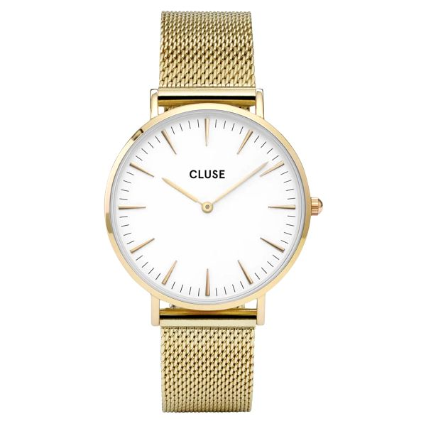 CLUSE Hodinky Cluse La Bohéme Mesh Gold/white, zlatá barva, sklo, kov