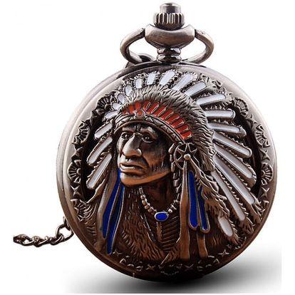 Kapesní vintage hodinky s indiánem