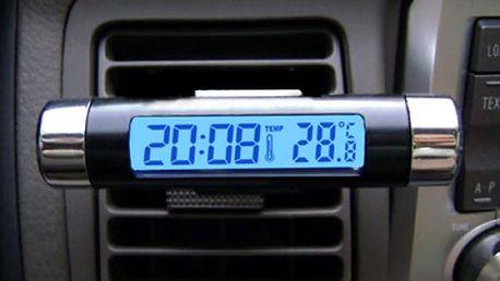 Teploměr do auta s hodinami a podsvícením