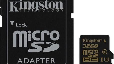 Paměťová karta Kingston MicroSDHC 32GB UHS-I U3 (90R/45W) + SD adapter černá (SDCG/32GB)