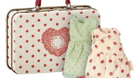 Maileg Plechový kufřík s oblečky pro myšky, kov, textil
