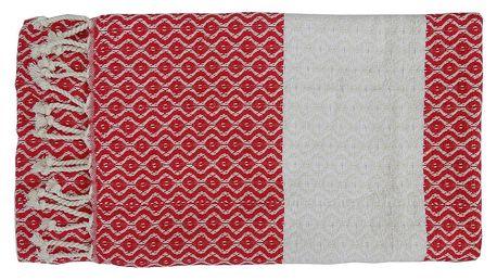 Červená ručně tkaná osuška z prémiové bavlny Oasa,100x180 cm