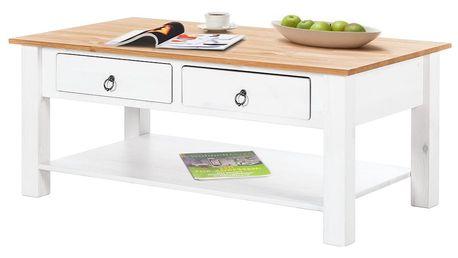 Bílý konferenční stolek z borovicového dřeva s přírodní deskou Støraa Inga
