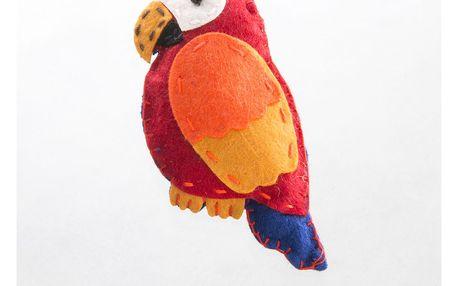 Fashion Icon Brož papoušek tkanina HAND MADE ruční práce