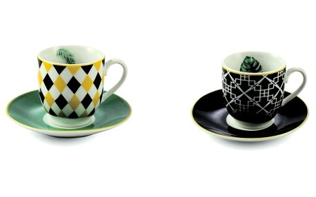 Sada 6 porcelánových šálků s podšálkem Villa d'Este Mykonos Urban Jungle