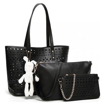 SET: Dámská černá kabelka Natasha 1829