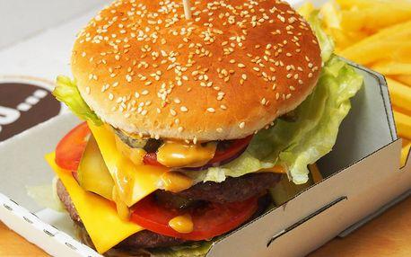 2× burger s sebou výběrem ze 6 druhů + hranolky