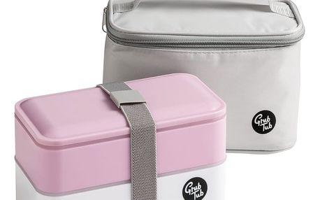 Set růžového svačinového boxu a tašky Premier Housewares, 21 x 13 cm