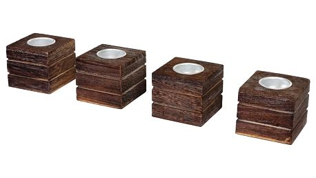 Sada 4 hnědých svícnů Mendler Shabby Tolve