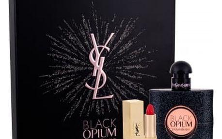 Yves Saint Laurent Black Opium dárková kazeta pro ženy parfémovaná voda 50 ml + rtěnka Rouge Pur Couture odstín 1 1,3 ml