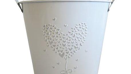 Plechový květináč Stardeco bílý velký 18x22,5cm