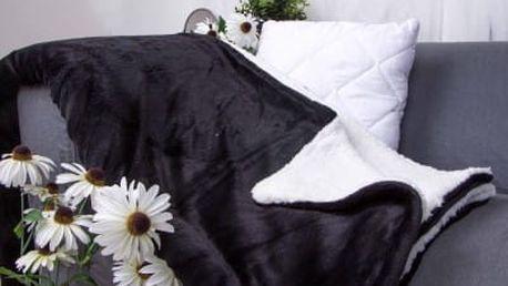 XPOSE ® Deka mikroflanel s beránkem - černá 140x200 cm