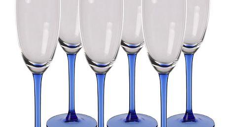 6dílná sada sklenic na sekt Blue, 180 ml