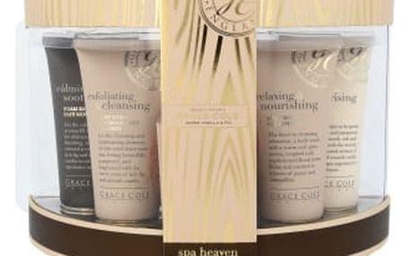 Grace Cole Warm Vanilla & Fig dárková kazeta pro ženy sprchový gel 100 ml + tělové mléko 100 ml + pěna do koupele 100 ml + tělový peeling 100 ml + mýdlo 100 g + mycí houba
