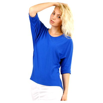 Dámské oversized triko s 3/4 rukávem modrá