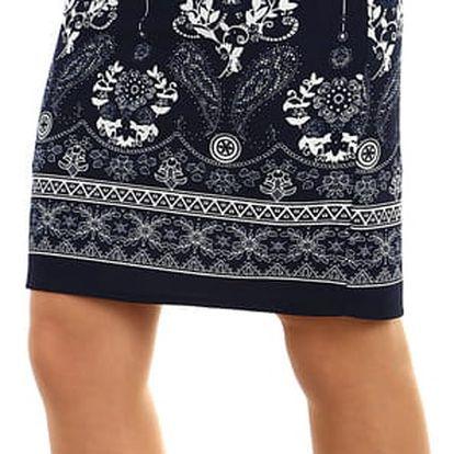 Dámská pouzdrová sukně se vzorem tmavě modrá