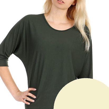 Dámské oversized triko s 3/4 rukávem béžová