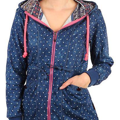 Dámská mikinová bunda- i pro plnoštíhlé modrá