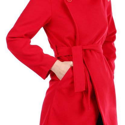 Krátký dámský kabát s páskem červená