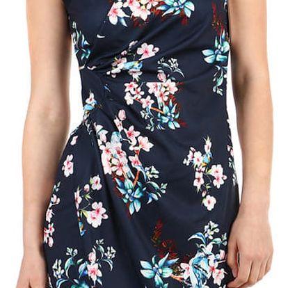 Dámské květované šaty - zavinovací efekt tmavě modrá