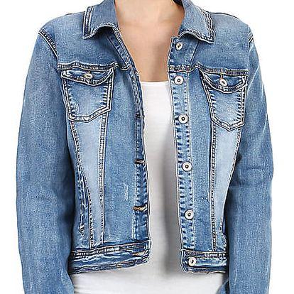 Dámská džínová bunda- pro plnoštíhlé světle modrá