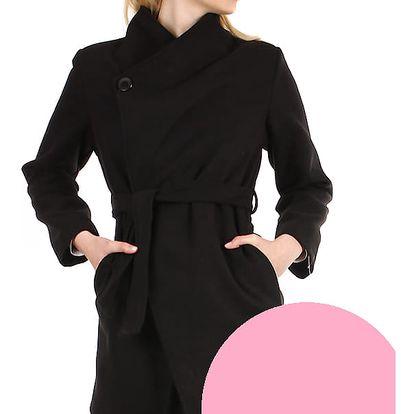 Dámský fleecový kabátek s páskem světle růžová