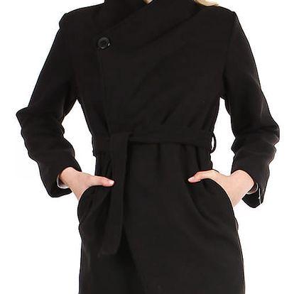 Dámský fleecový kabátek s páskem černá