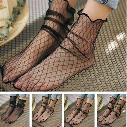 Pavučinkové dámské letní ponožky se vzory