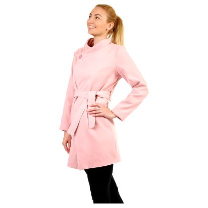 Krátký dámský kabát s páskem světle růžová