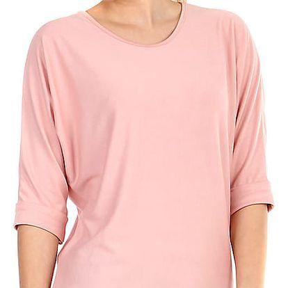 Dámské oversized triko s 3/4 rukávem světle růžová