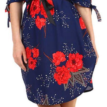 Volné dámské šaty s krátkým rukávem tmavě modrá
