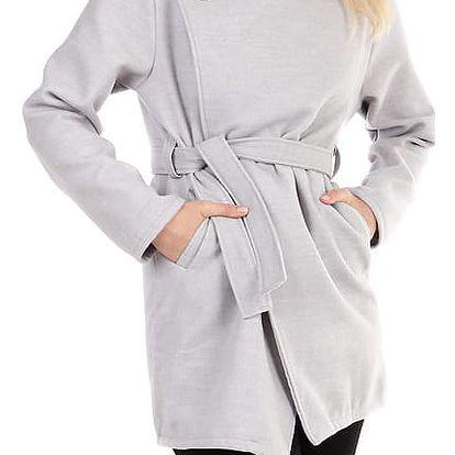 Dámský fleecový kabátek s páskem světle šedá