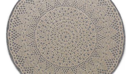 Šedý kulatý koberec Art For Kids Crochet, ⌀ 135 cm
