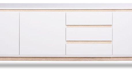 Bílá třídveřová TV komoda se 3 zásuvkami a detaily v dubovém dekoru Intertrade Apart
