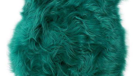 Zelená ovčí kožešina s dlouhým chlupem Ptelja, 100x55cm