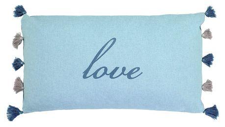 Modrý polštář Art For Kids Love, 65x35cm