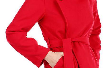 Dámský fleecový kabátek s páskem červená