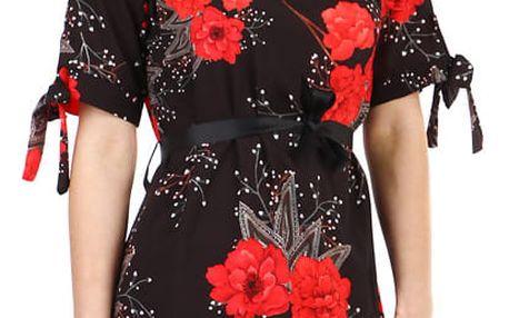 Volné dámské šaty s krátkým rukávem černá