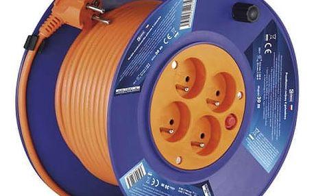 Kabel prodlužovací na bubnu EMOS 4x zásuvka, 30m oranžový (1908143001)