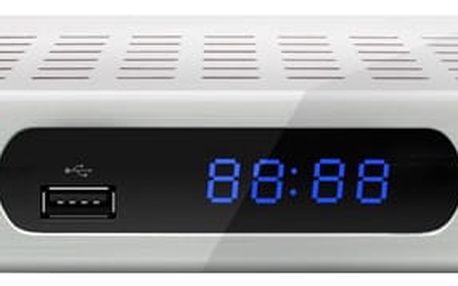 DVB-T2 přijímač Zircon ICE s DVB-T2 s HEVC (H.265) bílý