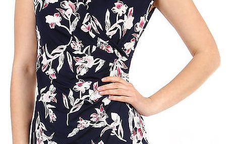 Dámské květované šaty - i pro plnoštíhlé tmavě modrá