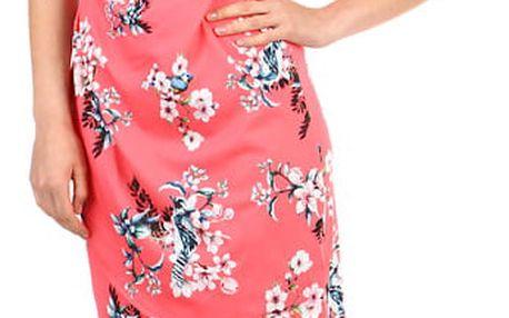 Dámské květované šaty - zavinovací efekt korálová