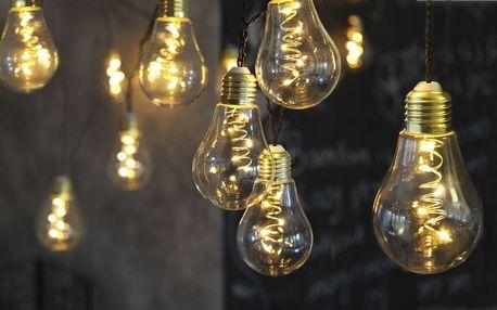 STAR TRADING Světelný LED řetěz Glow - 10 žárovek, černá barva, sklo, plast