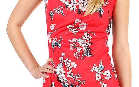 Dámské květované šaty - zavinovací efekt červená