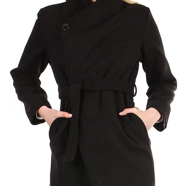 Krátký dámský kabát s páskem černá