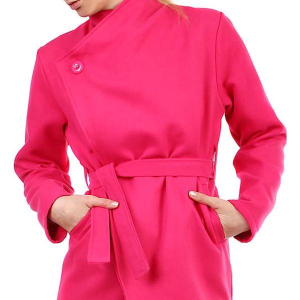 Dámský fleecový kabátek s páskem neon růžová