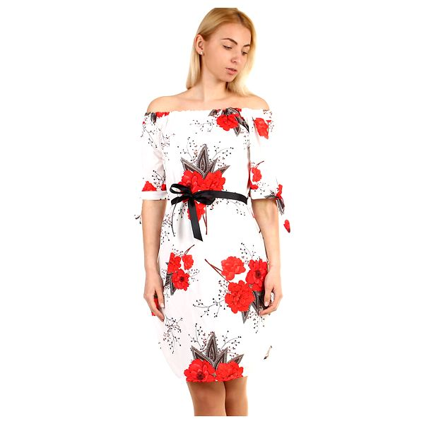 Volné dámské šaty s krátkým rukávem bílá