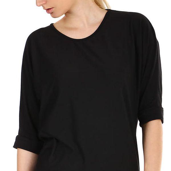 Dámské oversized triko s 3/4 rukávem černá